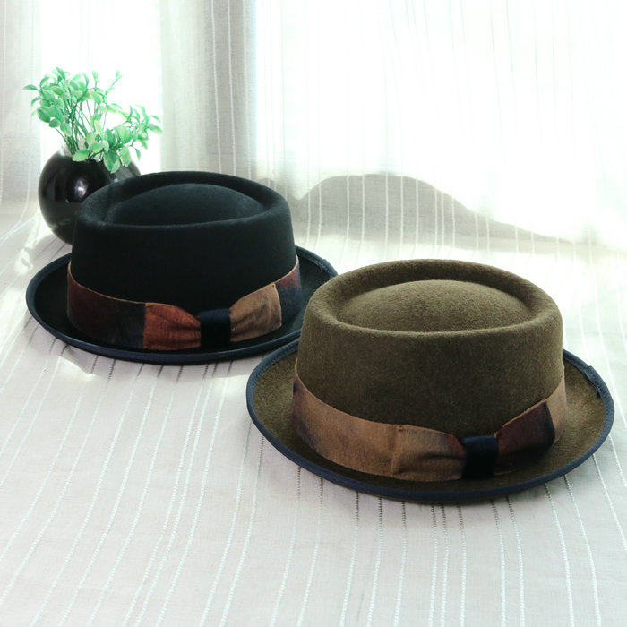 01809-baoliu7-1 elegant 100% wool short brim small bowknot lady winter fedoras cap women leisure hat