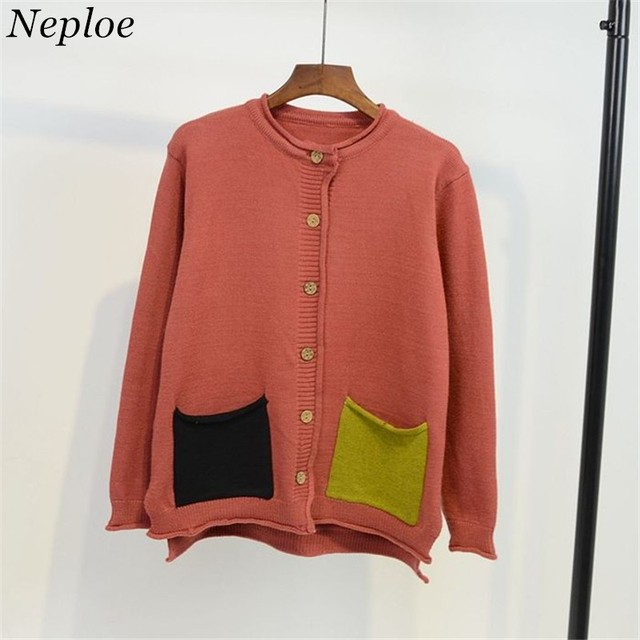 cdd711622e Neploe Fashion Pockets Patchwork Women Cardigans Autumn Winter Casual  Sweaters Long Sleeve Back Embroidery Knitwear 65865
