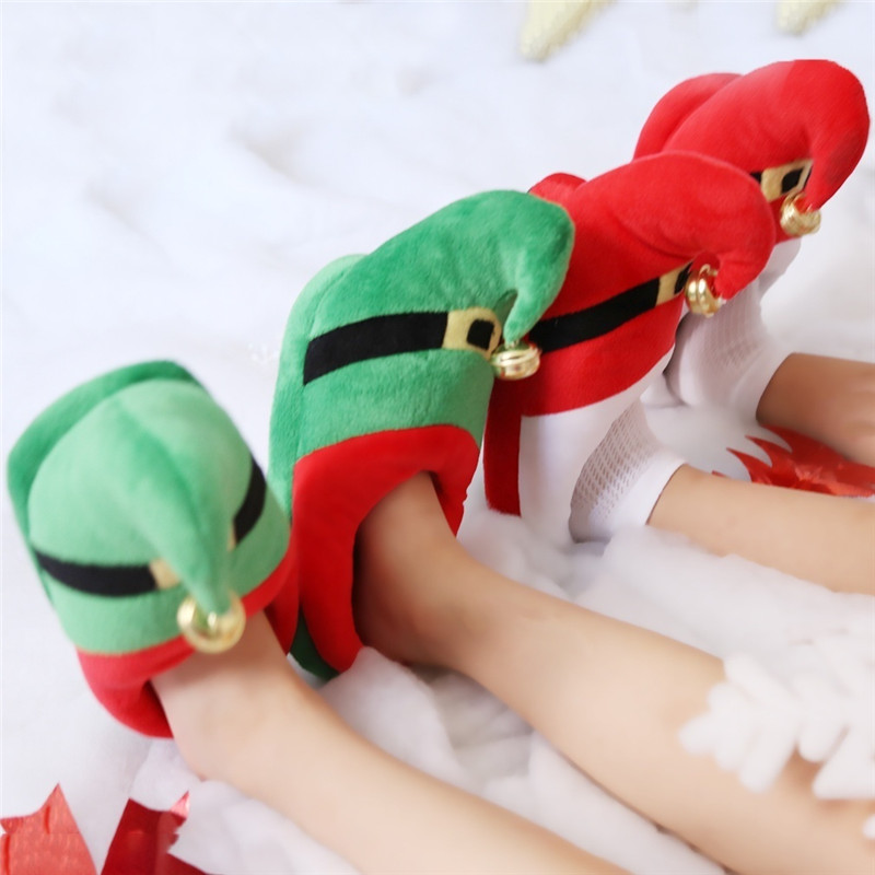 Nett Winter Frauen Männer Kinder Winter Warme Hausschuhe Weihnachten Haus Schuhe Indoor Boden Schuhe Non-slip Pantoffel