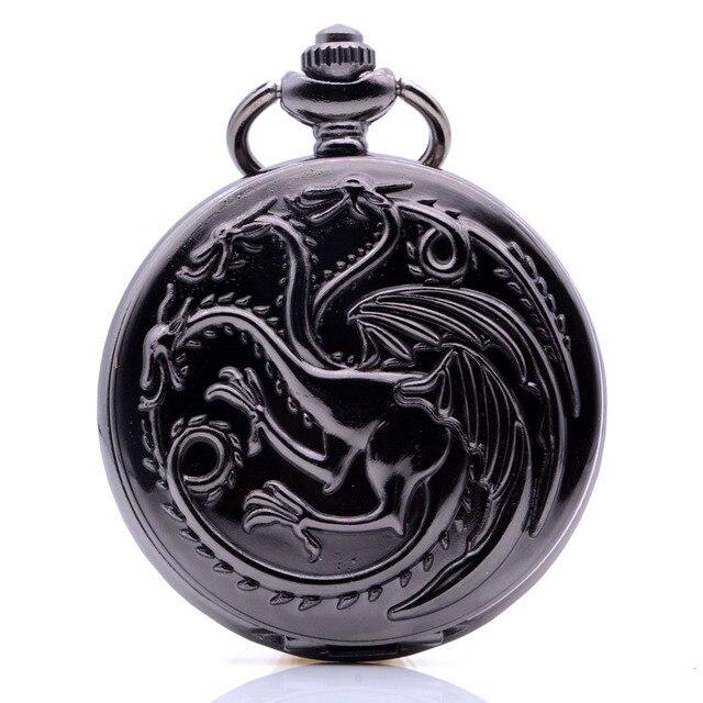 Vintage Antique House Targaryen Blood and Fire Game of Thrones Mens Womens Quartz Pocket Watch Necklace Chain Regarder Gift