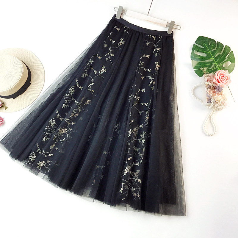 31f04fdffb6 Wasteheart Blue Pink Women Skirts Women High Waist Pleated Embroidery Ankle  Length Skirt All match Chiffon Clothing Plus Size-in Skirts from Women s ...