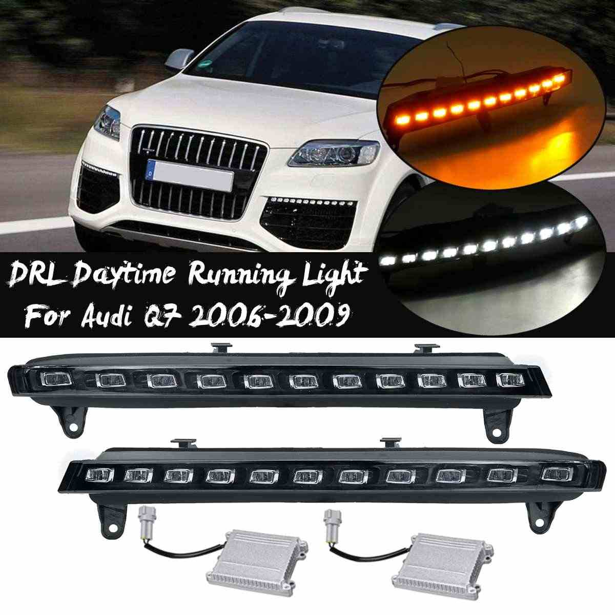 ด้านหน้ากันชน LED TURN ไฟสัญญาณสำหรับ Audi Q7 2006-2009 ไฟตัดหมอกไฟวิ่งกลางวัน DRL Blink ไฟหน้าอุปกรณ์เสริม