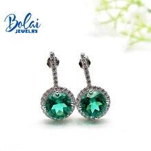 купить Bolaijewelry, Created green emerald round 8.0mm earring 925 sterling silver fine jewelry for women best gift по цене 2635.86 рублей