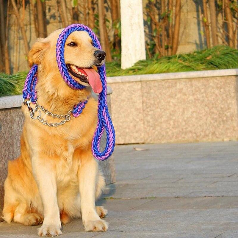 Coloré longue grand nylon chien laisse et collier rétractable corde ensemble collier de chien en métal grand chiens contrainte colliers pet accessoires