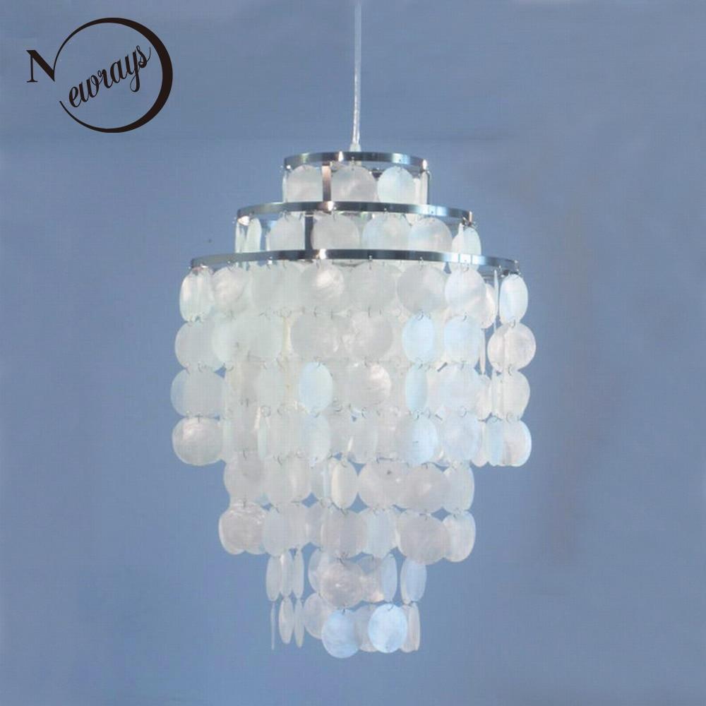3 circle diy modern white natural seashell pendant lamp fixture