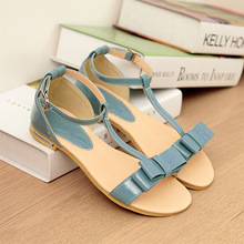 015 new summer women shoes sweet princess style solid color bow buckle flat T-tied sandals Flat bottom comfoetable shoes E003