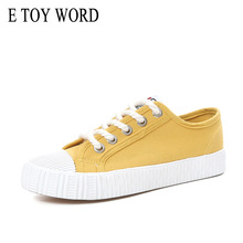 E TOY WORD Fashion Spring Women Sneakers Canvas Shoes Lace Up Solid Sewing Breathable White Sneakers Chaussure Femme Size 40 sneakers e goisto sneakers