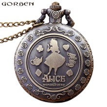Vintage Anime Alice in Wonderland Bronze Quartz Pocket Watch