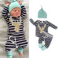 2017 new baby clothing suit male and female baby clothing cartoon long-sleeved stripe jacket + pants 2 cotton baby boys and girl