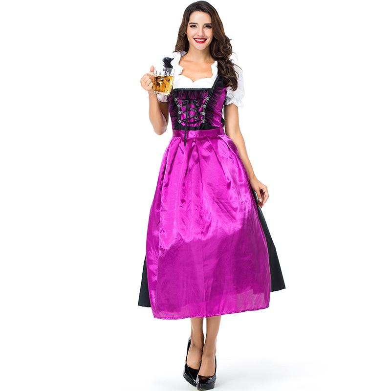 Adult Women Halloween Oktoberfest Costume Bavaria Beer Festival Purple Black Long Lacing Up Dress For Female