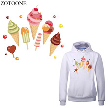ZOTOONE Iron on Transfer Ice Cream Patches for Girl Clothing DIY T-shirt Dress Applique Heat Vinyl Stickers Clothes