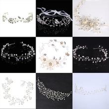 Fashion Silver Hair Jewelry Simulated Pearl Rhinestone Headband Bridal tiaras Hairbands Headpiece Wedding Women Hair Accessories цена 2017