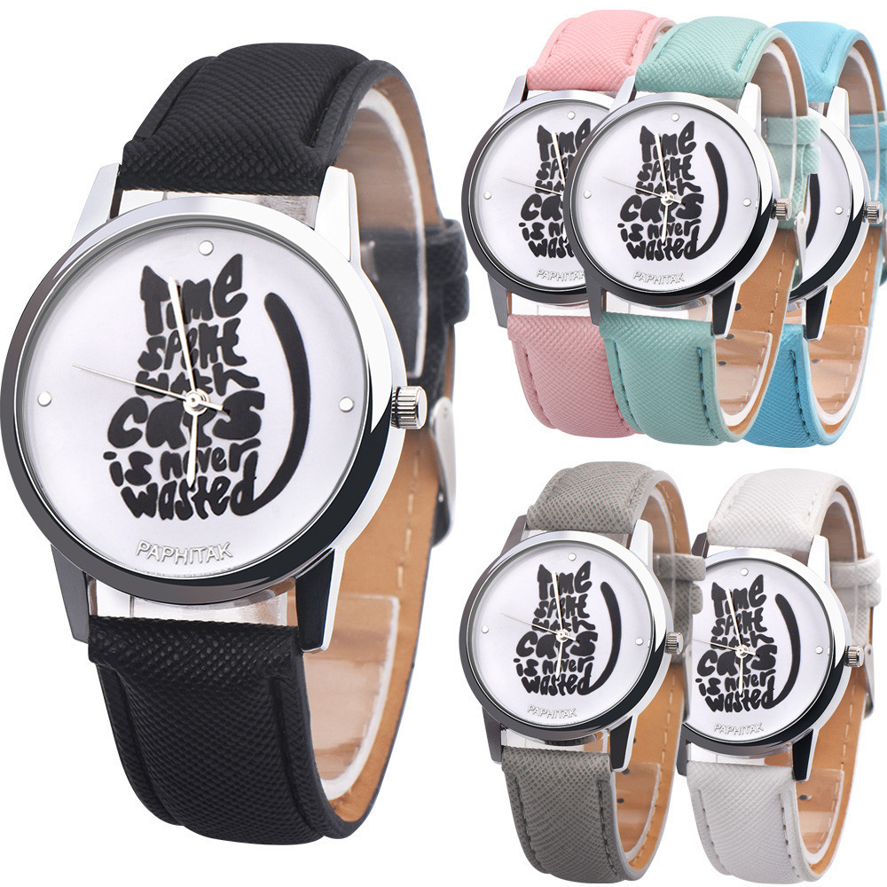 Watch Women Watches 2017 Bracelet Casual Female Clock Men Leather Letter Time spent with cats is never wasted Print Relogio