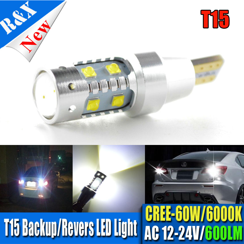 1PCS 60W AC12-24V Extremely Bright 800lm High Power Canbus 912 921 T15 W16W Car LED Backup Revers <font><b>Light</b></font> Projector Bulb