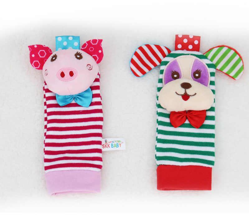 Плюшевая погремушка милая собака и носки со Свинкой повязка на запястье обучающая игрушка для детей подходит для Детская кровать коляска игрушки