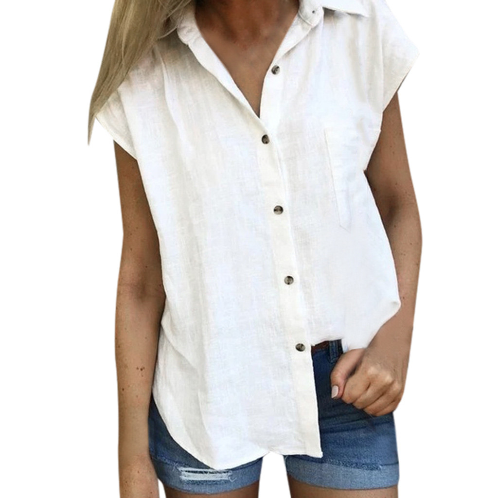 SAGACE 2019 Women's   Blouse   Fashion Casual Solid Short Sleeve Button Cotton   Blouses   O Neck Ladies   Blouses   Top Cotton linen   Shirt