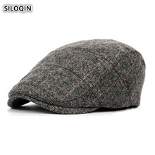 SILOQIN Autumn Winter New Product Mens Middle Old Aged Berets Wild Trend Leisure Tourism Tongue Cap British Style Dads Hat