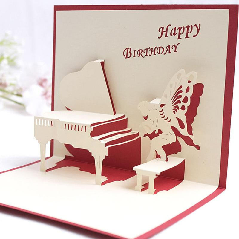 3D Piano Pop Up Birthday Greeting Post US 288