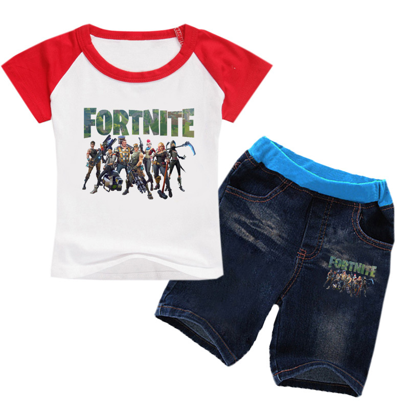 Z&Y 2-14Years Tiny Cottons Game Fortnite Tee Shirt Jeans Set Sports Clothing Sport Suit for Girl Teenage Clothes Kindergarten