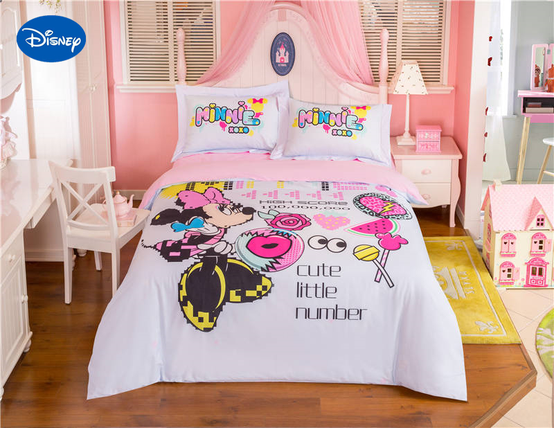 Cute Pink Disney Minnie Mouse Cartoon Print Bedding Set for ...
