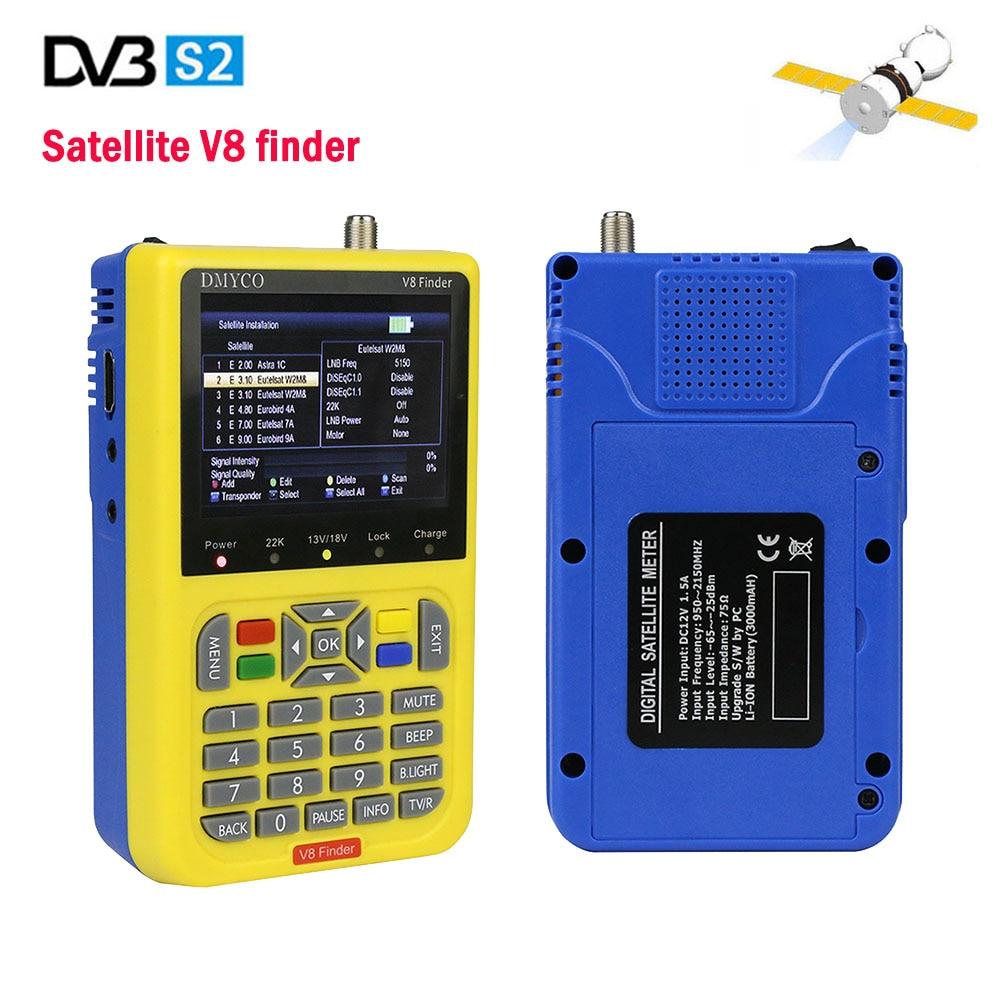 Free shipping V8 Finder DVB S2 Satellite Signal Finder 3.5 inch LCD digital 1080P HD MPEG 2 MPEG 4 FTA Digital Satellite Meter