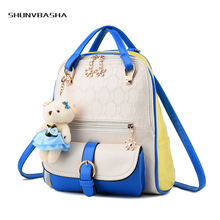 Fresh Backpacks For Students Preppy Style Plush Bear Ornaments Appliques Zipper PU Flap Female Shoulder Bags For Women Backpacks