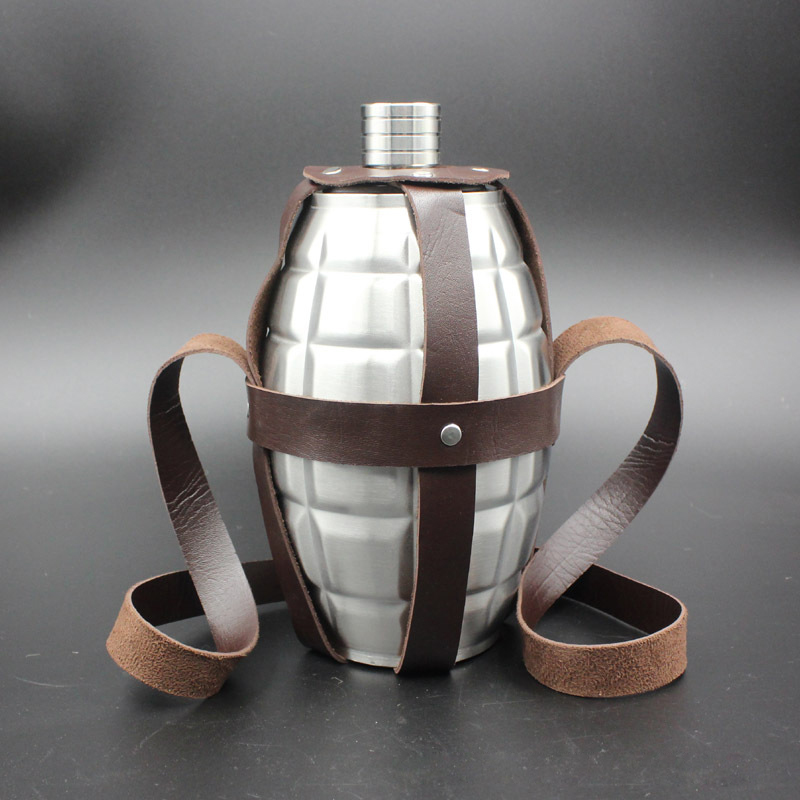 Large Capacity 64 oz stainless steel Hip Flask Alcohol Beer Flagon Land Portable kettle pot grenade