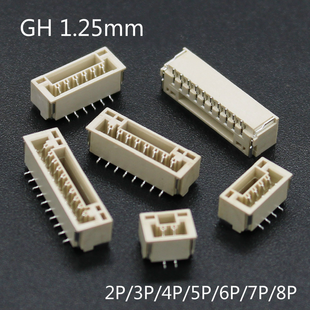 20Pcs GH 1.25mm With Lock Connector Patch Vertical SMT 2/3/4/5/6/78P GH1.25
