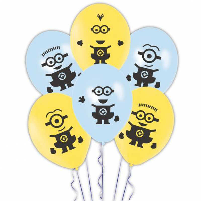 12pcs 12inch Minions Latex Balloon Inflatable Kids Happy Birthday Decorations Globos Toys For Kids