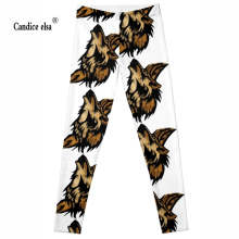 Hot Wholesale Fashion 2016 Womens Pirate Costume Leggins Pants Digital Printing CUTE WOLF LEGGINGS FREE SHIPPING