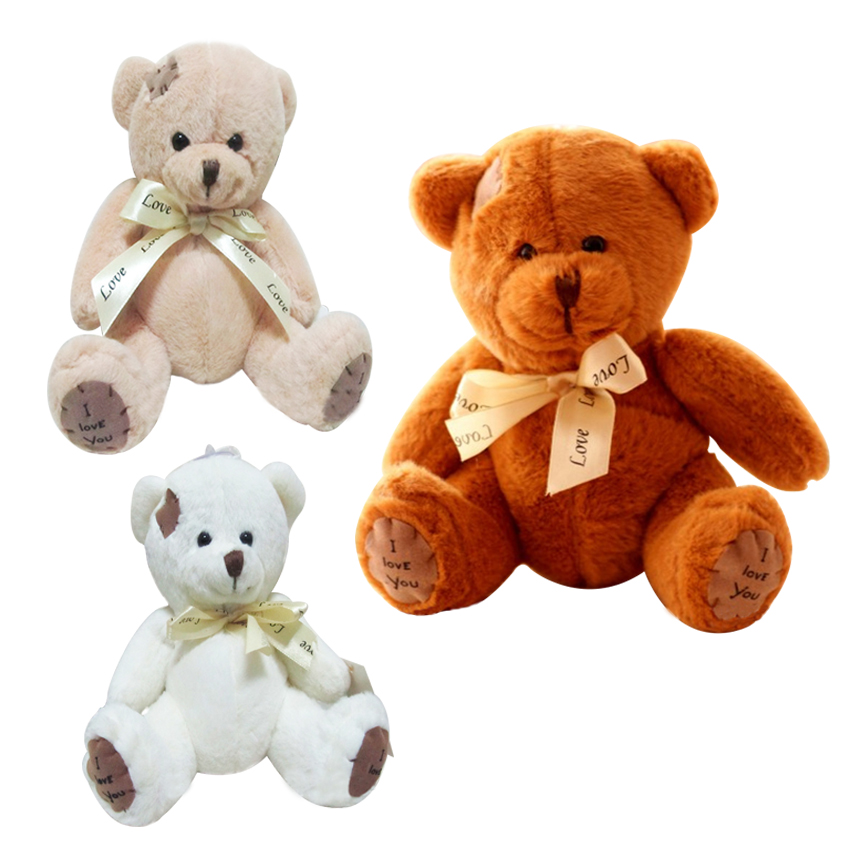 1pc 20CM Stuffed Teddy Bear Dolls Patch Bears Three Colors Plush Toys Best Gift for Children Kids Toy Wedding Gifts cartoon movie teddy bear ted plush toys soft stuffed animal dolls classic toy 45cm 18 kids gift
