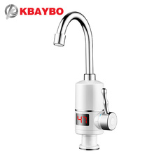 Купить с кэшбэком KBAYBO Electric Water Heater 3000W instant water heater Tankless hot heating water tap Bathroom Kitchen Water Faucet