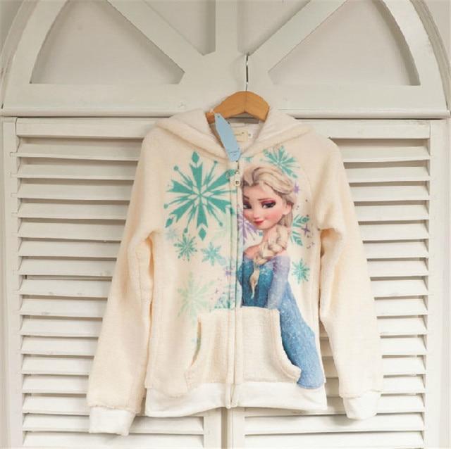 Children Warm Fleece Cartoon Elsa Cute Hoodies Sweatshirts With Zipper For Girls 2016 New Autumn Kids Sweater Clothing Moletom