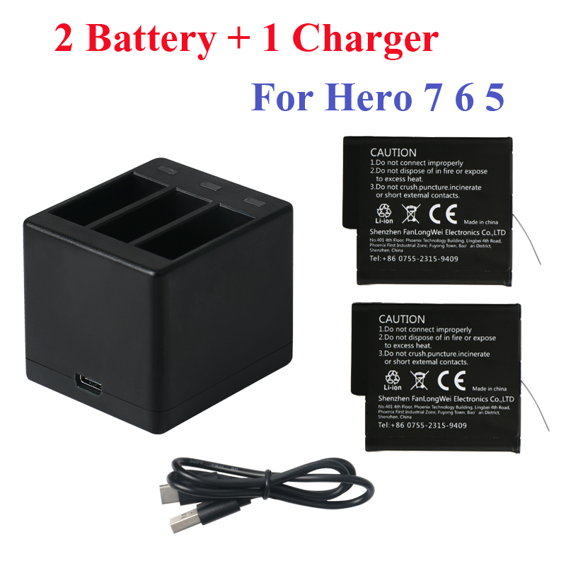 2018 New 2PCS For GoPro Hero7 Hero 6 5 Battery 3 Way Led Battery Storage Box Charger For GoPro Hero 7 Hero 6 5 Black Accessories in Sports Camcorder Cases from Consumer Electronics