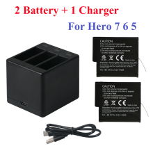 2018 New 2PCS For GoPro Hero7 Hero 6 5 Battery+3-Way Led Battery Storage Box Charger 7 Black Accessories