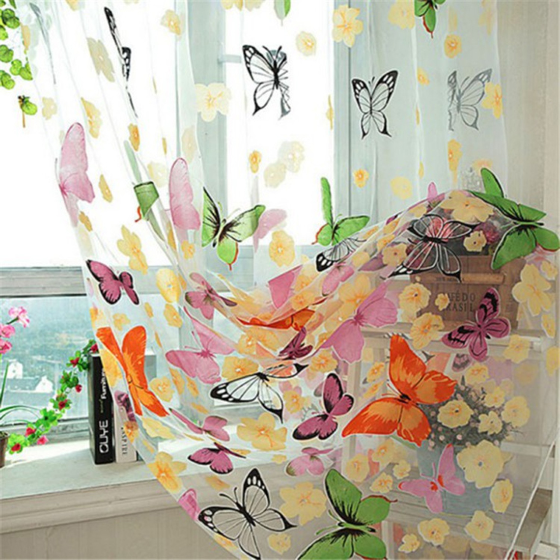 100cm X 200cm Butterfly Print Sheer Window Panel Curtains Room Divider New For Living Room Bedroom Decoration