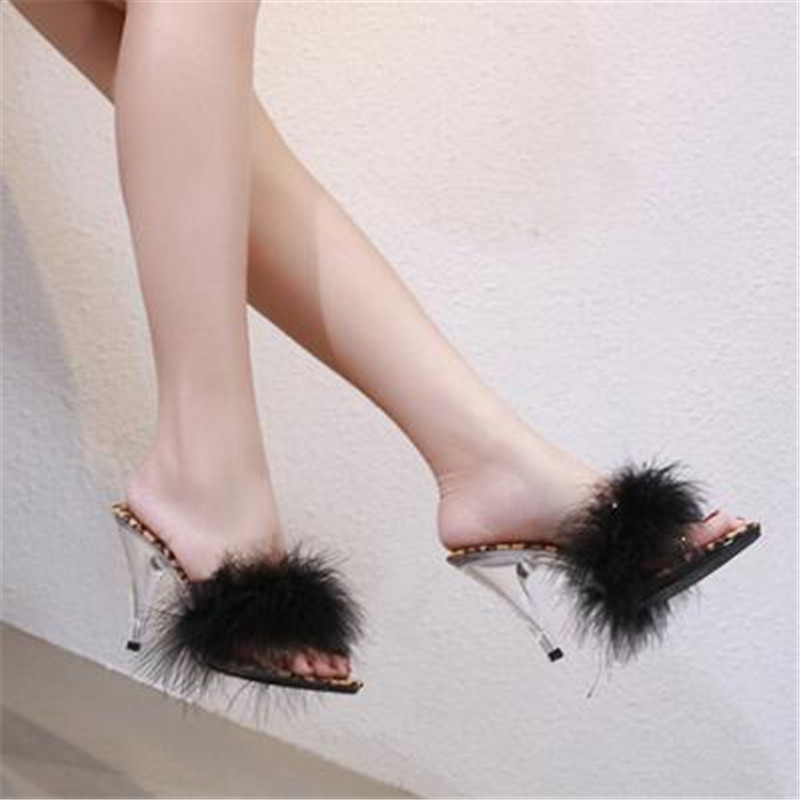 FeiYiTu Shoes Woman Summer Sandals Feather Slides High heels 7 10cm Model Catwalk Transparent Glass Crystal Leopard Slippers in Slippers from Shoes
