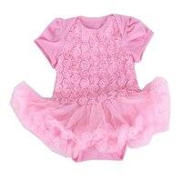الوردي 3d روز طفلة رومبير الميلاد حزب اللباس الفتيات ملابس الجسم بيبي بذلة مولود جديد ملابس طفل الملابس