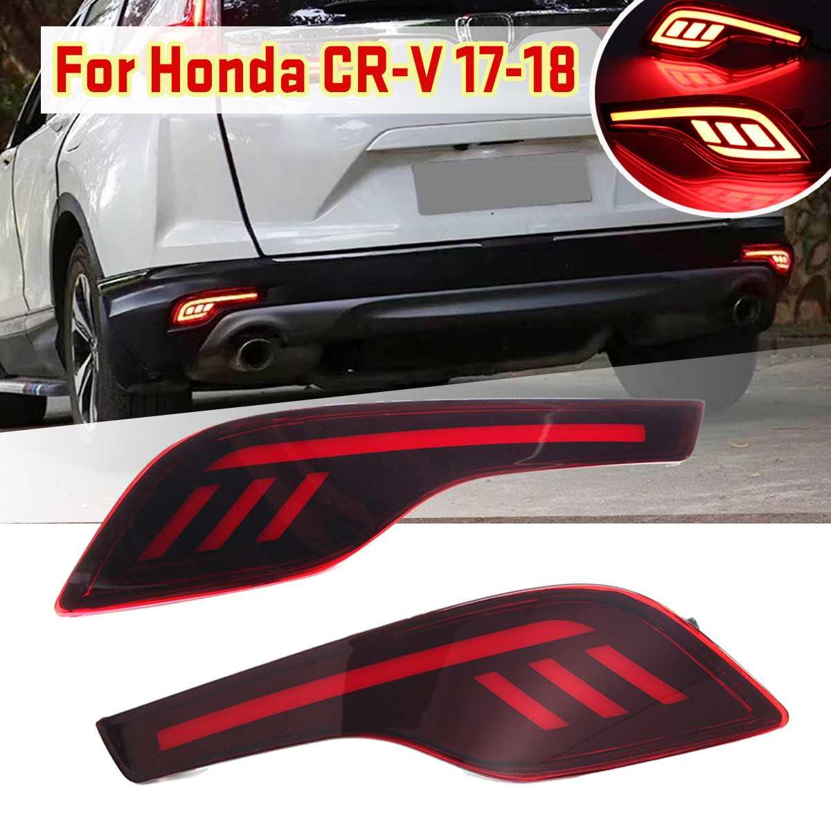 2pcs Car 12V Red LED Rear Bumper Reflector Fog Light Lamp Tail Brake Warning Light For Honda CRV 2017 2018