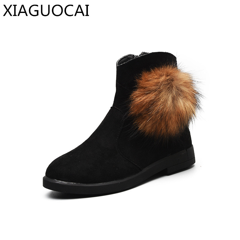 Winter New Girls princess Martin boots Fur Genuine Leather Side zipper Warm Snow Boots Fashion Children Cotton Size 28-35 B86 10 martin new winter with thick british style short canister female fall side zipper boots