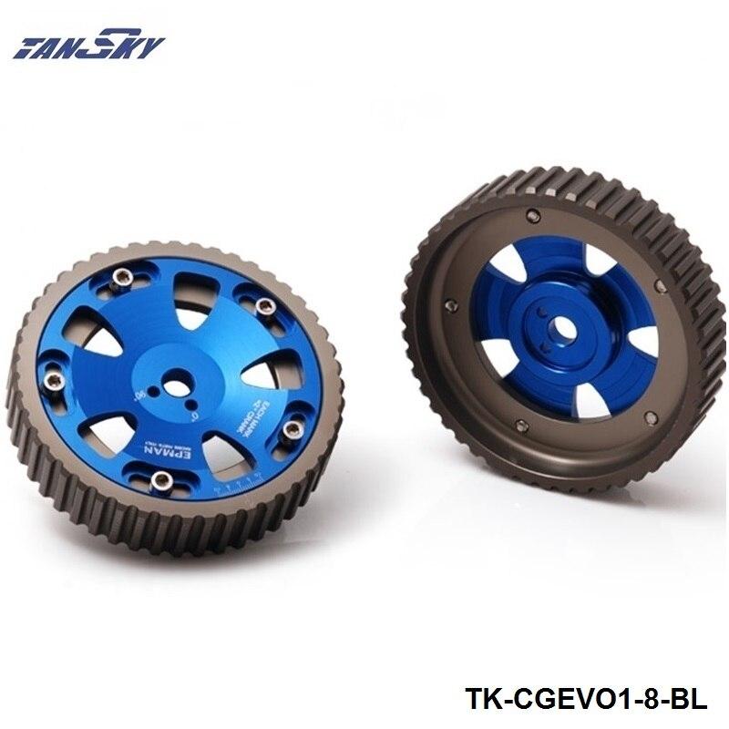 2 Pcs Réglable Cam Vitesse Aluminium Pignon de distribution Poulie Kit Pour Mistubishi Lancer EVO 1 2 3 4 4G63 4G63T Moteur TK-CGEVO1-8-BL
