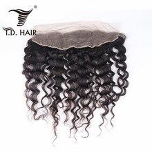 TD волосы бразильские Remy человеческие волосы натуральный цвет глубокая волна часть 13x4 фронтальная кружевная