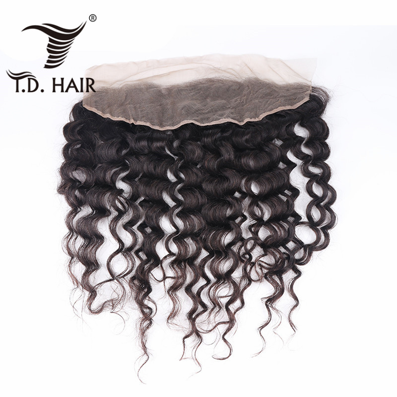 TD HAIR Brazilian Remy Human Hair Natural Color Deep Wave Free Part 13x4 Lace Frontal
