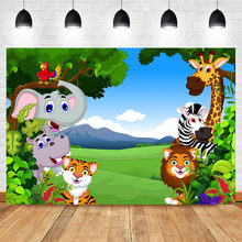 Neoback Woodland Safari Theme Birthday Party Background for Photo Cute Cartoon Animal Custom Baby Shower Photography Backdrops(China)