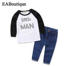 2016 New Winter boys clothes Fashion Letter little man printed long sleeve shirt with jeans casual 2 piece set