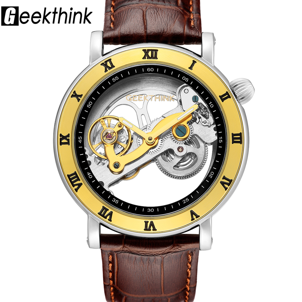Steampunk Hollow Out Design Men's Watches Automatic Mechanical Genuine Leather Wrist Watch Classic Male Business Watch Clock все цены
