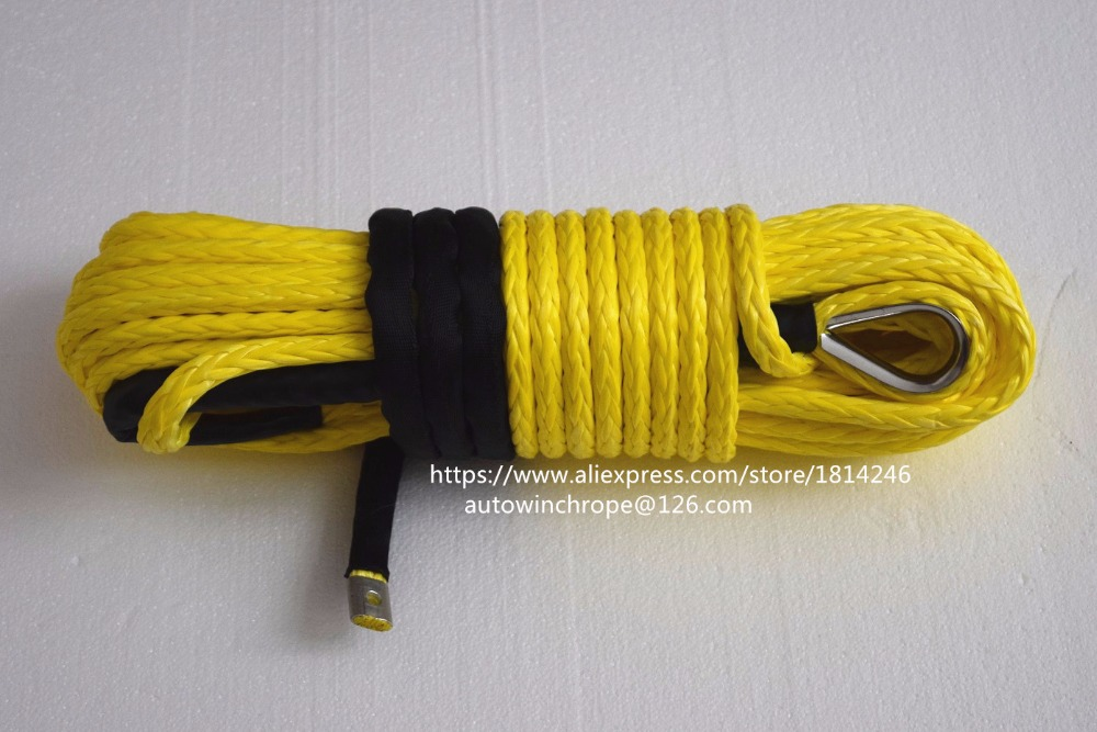 Yellow 12mm 30mSynthetic Winch Rope ATV Winch Cable Winch Rope Extension Plasma Rope Towing Rope