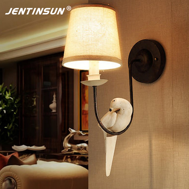 Фотография American Countryside Nordic Bedside Wall Lamp Fabric Bird Indoor Lighting LED Mounted Light for Living Room Bedroom Decor Study
