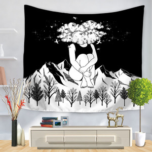 Image 3 - Pop Art Black White Creative Tapestry Polyester Rectangular Living Room Bedroom Home Decor Background Decoration Wall Hanging