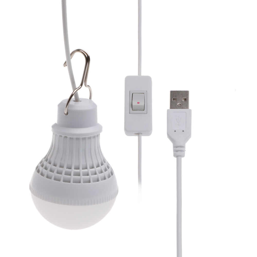 Smart USB Rechargeable Led Emergency Light Button Switch 5V 5W LED Bulb  Camping Home Night Lamp White Color